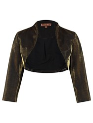 Jolie Moi Retro Metallic Bolero Jacket Black Gold