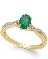 Macy's Emerald 3 4 Ct. T.W. And Diamond Accent Oval Ring In 14K Gold