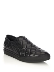 Balmain Quilted Leather Slip On Sneakers Black