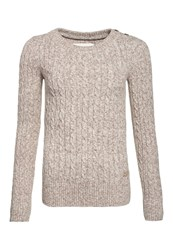 Superdry Croyde Twist Cable Crew Neck Jumper Cream