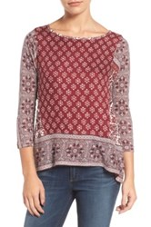 Lucky Brand Border Print Top Red