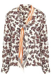 Rockins Printed Pussy Bow Silk Crepe De Chine Shirt Off White Off White