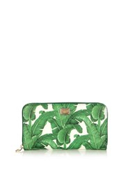 Dolce And Gabbana Banana Leaf Print Zip Around Leather Wallet Green White