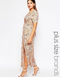 Club L Plus Size Maxi Dress With V Neck In Paisley Print Creampaisley