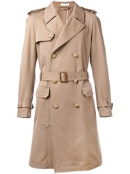 Boglioli Double Breasted Trench Coat Men Cotton Cashmere 48 Nude Neutrals