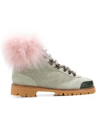 Mr And Mrs Italy Fur Trim Ankle Boots Grey