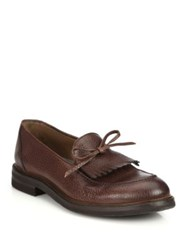 Brunello Cucinelli Kiltie Tassel Leather Loafers Copper