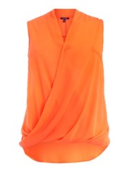Samya Crossover Pleat Front Top With Dip Hem Orange