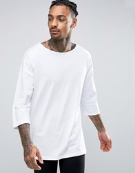 Asos Oversized 3 4 Sleeve T Shirt With Boat Neck In White White