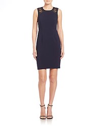 Rebecca Taylor Crochet Inset Sheath Dress Navy
