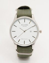 Reclaimed Vintage Logo Military Watch In Green Canvas Green