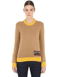 Prada Logo Cashmere Sweater Camel Yellow