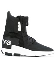 Y 3 Logo Print Hi Tops Unisex Leather Polyamide Rubber 9.5 Black