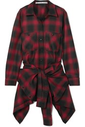 Alexander Wang Checked Wool Flannel Playsuit Red
