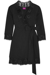 Jada Lace Trimmed Stretch Satin Robe Black