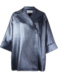 Gianluca Capannolo Metallic Oversized Short Coat Blue