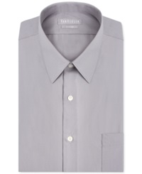 Van Heusen Fitted Poplin Solid Dress Shirt Gray