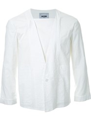 Factotum Single Button V Neck Shirt White