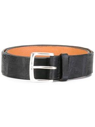 Orciani Crocodile Effect Belt Black
