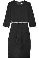 Max Mara Ruffled Stretch Wool Crepe Dress Midnight Blue