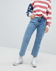Pull And Bear Pullandbear Straight Leg Jean Cropped With Frayed Hem Med Blue