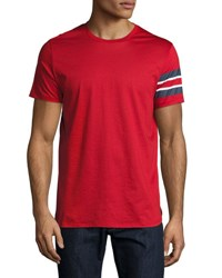 Burberry Jake Regimental Stripe Cotton Tee Red