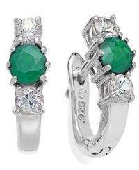 Macy's Sterling Silver Earrings Round Cut Emerald 1 2 Ct. T.W. And White Sapphire 1 2 Ct. T.W. Three Stone Earrings