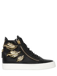 Giuseppe Zanotti Homme Gold Leaves Leather High Top Sneakers
