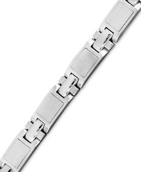 Macy's Men's Stainless Steel Bracelet Textured Finish Square Link