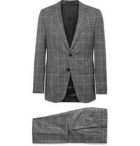 Hugo Boss Grey Novan Ben Slim Fit Prince Of Wales Checked Super 120S Virgin Wool Suit Gray
