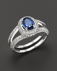 Bloomingdale's Sapphire And Diamond Oval Ring In 14K White Gold Blue White
