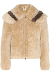 Fendi Cropped Two Tone Shearling Jacket