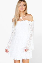 Boohoo Lace Strappy Wide Sleeve Skater Dress Ivory