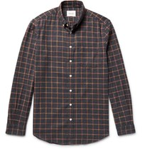 Steven Alan Masters Button Down Collar Checked Brushed Cotton Shirt Gray