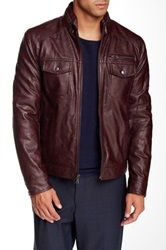 Kenneth Cole Faux Leather Zip Front Jacket Red