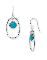 Argentovivo Turquoise And Sterling Silver Oval Drop Earrings