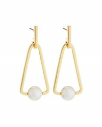 Rebecca Minkoff 12K Gold Plated Large Triangular Pearly Bead Drop Earrings No Color
