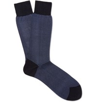 Tom Ford Herringbone Cotton Socks Blue