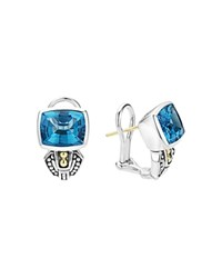 Lagos 18K Gold And Sterling Silver Glacier Huggie Earrings With Swiss Blue Topaz Blue Silver
