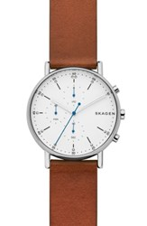 Skagen Signature Leather Watch 40Mm Brown White Silver