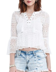 California Moonrise Blossom Lace Swing Blouse Off White