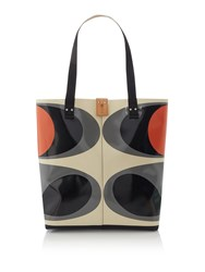 Orla Kiely Flower Oval Stem Willow Tote Grey