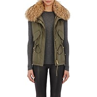 Sam Women's Fur Trimmed Vest Dark Green