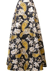 Alice Olivia Floral Pattern Skirt Black