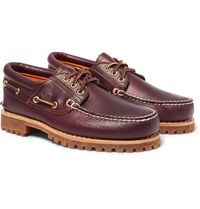 Timberland Authentics Leather Boat Shoes Burgundy