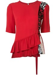 Yigal Azrouel Patchwork 'Georgette' Top Women Silk 4 Red