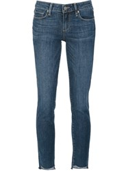 Paige High Low Cutout Hem Skinny Jeans Blue