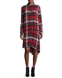 Public School Ilha Plaid Button Front Drop Waist Shirtdress Red Pattern