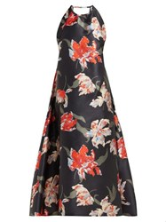 Rochas Tulip Print Halterneck Duchess Satin Dress Black