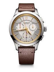 Victorinox Stainless Steel Chronograph Leather Strap Watch Silver Brown